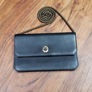 a.testoni vintage black clutch bag w/golden chain